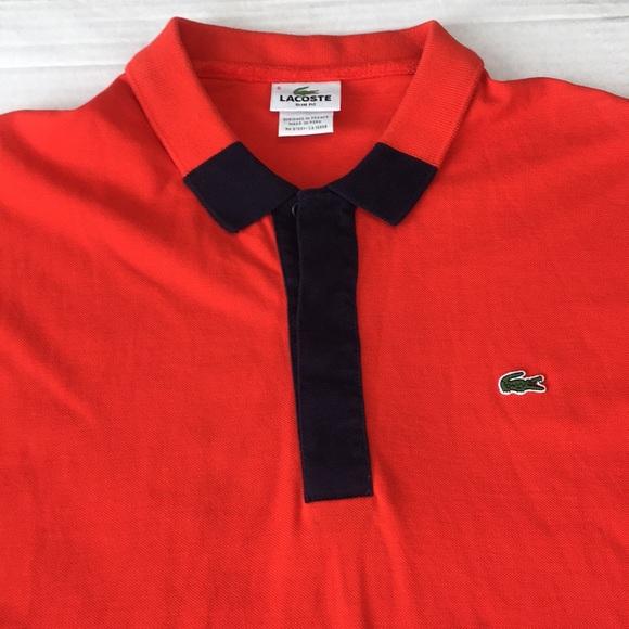 63296fbe6 Lacoste Other - Lacoste Orange Blue Polo Shirt Slim Fit Sz 6 US XL